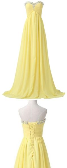 Beaded/Beading Prom Dresses, Yellow A-line/Princess Prom Dresses, Long Yellow Prom Dresses, Yellow Chiffon Beaded Strapless Lace Up High Low Pregnant Prom Dresses Yellow Lace Dresses, Black Prom Dresses, A Line Prom Dresses, Beautiful Prom Dresses, Prom Dresses Online, Long Dresses, Elegant Dresses, Dresses Dresses, Beautiful Clothes