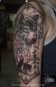 Lizard's Skin Tattoos: Jungle Themed Wolf Tattoo by Artist Niloy Das, India