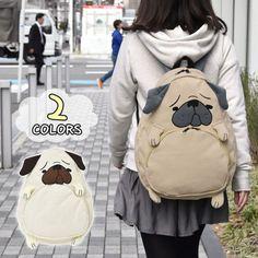 Harajuku animal pug dog backpack school bag