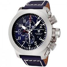 Reloj Swiss Legend Militare SL-1101-03 Edición Limitada con esfera de acero inoxidable y pulsera de piel color azul. #relojes #watches