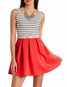 solid & striped belted skater dress