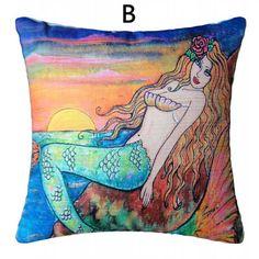 Mermaid princess throw pillows from Grimm's fairy tales cartoon sofa cushions