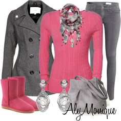 """Pink & Grey...(""""Untitled #381"""" by alysfashionsets on Polyvore)"""