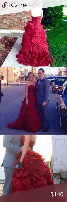Formal Prom Dress Ballgown Ball gown style burgundy prom dress. Corset back. Train. Beautiful ruffles and very flattering waist. I'm 5'2 and wore three inch heels. Could fit 2-4 Dresses Prom