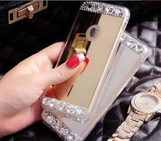 Bling Crystal Electroplated Mirror Phone by AlonmyCrystalCrafts