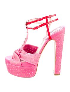 Pink leather and red patent leather Brian Atwood Frozen sandals with gold-tone studs throughout, covered platforms and chunky heels, ankle straps and side gold-tone buckle closure. $195.00 size 7