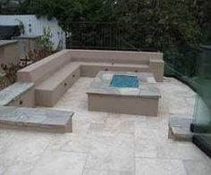 Concrete benches around the fire pit! Love it!