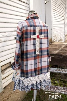 Farm Girl Fancies Upcycled Flannel shirt / Jacket by: Sweet Magnolias Farm Now in our Etsy Shop