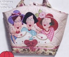 Gingham Girls Large Carryall - fun applique bag PATTERN  - Red Brolly