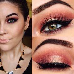 using Cosmetics Galaxy Chic palette- shades Aphrodite Saturn. Fall Makeup, Makeup Art, Beauty Makeup, Makeup Goals, Makeup Tips, Makeup Ideas, Galaxy Chic Palette, Peach Palette, Bh Cosmetics Galaxy Chic