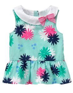 Toddler Girls Grassy Green Gingham Floral Top by Gymboree