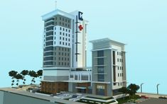 Modern hospital I made for my city in minecraft