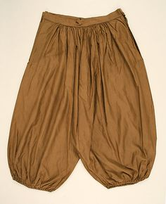 Turkish trousers also known as Bloomer, named after Amelia Bloomer who didn't originate the style but was recognized for it. They had full legs that were gathered to fit tightly at the ankle.