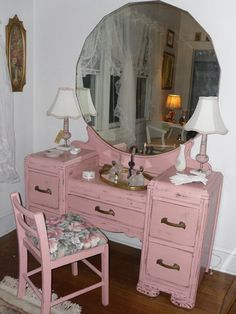 Vintage Dresser Vanity with Mirror and Stool in Shabby Chic Handpainted Pink Vintage Apple Treasure. $395.00, via Etsy.