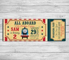 Thomas The Train Birthday Party Invitation - Digital Printable Personalized Thomas The Train Ticket- DIY Thomas The Train Invitation -STH_05 by DesignPhotoArt on Etsy https://www.etsy.com/listing/398362223/thomas-the-train-birthday-party