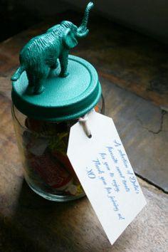 Repurposed baby food jars as favors!