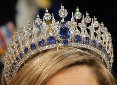 Mellerio Sapphire Tiara, circa 1881. Designed by Oscar Massin. Purchased in 1881 by King Willem III of the Netherlands for his wife, Queen Emma. It includes 655 South African diamonds, now set in platinum. The 33 sapphires are nestled at the bottom of the diadem like stained glass windows beneath Gothic cathedral archs. Adding to the sparkle factor, some of the stones are en tremblant – meaning set on springs, so that they move with the wearer & create the maximum amount of reflection.
