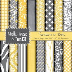 Yellow & Gray Digital Papers for Invite and other printables