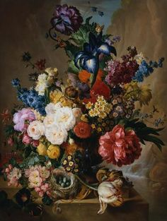 Poppies, Peonies and Other Assorted Flowers in a Terracotta Vase on a Stone Plinth with a Bird's Nest and a Butterfly by Jan Van Os