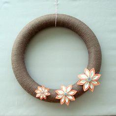 autumn door wreath by heartfelt yarn wreaths