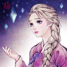 Disney Princess Drawings, Disney Princess Art, Disney Fan Art, Disney Drawings, Sailor Princess, Disney Movie Collection, Korean Painting, Cartoon Fan, Arte Disney