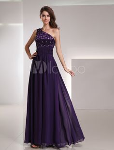 A-line One-Shoulder Floor-Length Grape Chiffon Rhinestone Evening Dress.  shining light · evening dresses 426fff84bf46