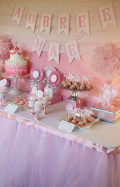 Ballerina Baby Shower Dessert Candy Bar Table by And Everything Sweet