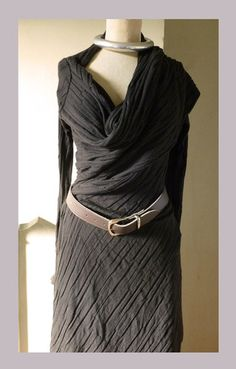DONNA KARAN black CASHMERE waterfall top DRESS wrap L LAGENLOOK stole | eBay this style would look quite nice on May,Julia, Kathy, Jenny OR Truday