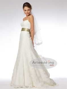 Strapless Allover Lace A Line Wedding Dress with Satin Bow Sash