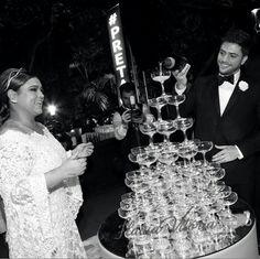 Torre de taças de champanhe  no casamento de Preta Gil e Rodrigo Godoy.