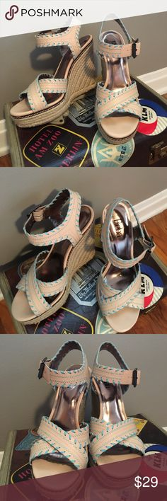 Reba Turquoise & Cream Wedge Strap Sandals Need to be taller than your ex's new squeeze? Your strut need a shoe siren? Buckle in and start walking! Great condition. Just some silver marker on the soles as pictured. Home of cute dog and no smoke. Reba Shoes