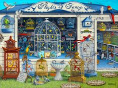 Flights of Fancy, an original oil painting by artist Janet Kruskamp shows an incredibly packed bird store with every type of bird available, even a penguin waddling along the floor. Birds sit outside in cages intermingled with wild birds eating and drinking from a birdbath. a big blue and yellow parrot sits on a stand with a hand written sign under saying For Sale One Noisy Bird! Birds in cages are everywhere, the shelves inside the shop are packed, the display window holds a large cage with…