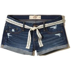 Hollister Low-Rise Denim Short-Shorts ($40) ❤ liked on Polyvore featuring shorts, ripped dark wash, frayed denim shorts, micro denim shorts, hot short shorts, low rise short shorts and short shorts