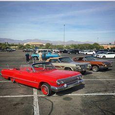 4 impalas built in Seattle repping in Vegas! Pic by Vilo. Great job RTR #63impala #63chevrolet #impala #impalas #64impala #64chevy #64chevrolet #lowrider #lowriders #lowriding #hydraulics #daytons #wirewheels #spokes #convertible #droptop #ragtop #Rtr #EazyDuzIt #eazyduzitcc