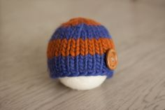 Newborn Hat Blue and Orange Alpaca Newborn Beanie by bluestonesky