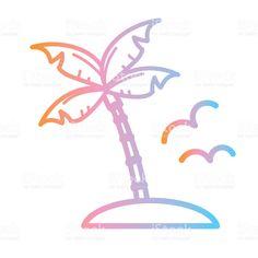 Vector illustration of a Summer party Flat Simple outline Design Icon Label Design, Icon Design, Palm Tree Island, Outline Designs, Summer Icon, Book And Magazine, Free Vector Art, Identity Design, Magazine Design