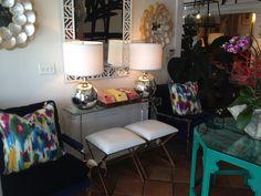 Color #happy #pillows greet you as you walk into our #mecoxgardens #PalmBeach store! #Mecox #interiordesign #furniture #shopping #design #decor #home #designidea #room #vintage #antiques #garden