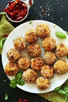 INCREDIBLE EASY Vegan Chickpea Meatballs infused with Sun-dried Tomatoes and Basil! The perfect weeknight or special occasion (vegan & lowfat). Vegetarian Meatballs, Vegan Vegetarian, Vegetarian Recipes, Cooking Recipes, Healthy Recipes, Paleo, Tofu Meatballs, Vegan Meals, Vegan Appetizers
