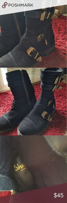 Shellys London Boots Finkova black suede fashion mid calf riding boots. In size 7.5 . Shellys London Shoes Ankle Boots & Booties