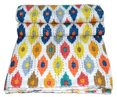 Bedding Home, Furniture & Diy Industrious Vintage Kantha Quilt Indian Handmade Cotton Bedspread Sashiko Throw Bedding