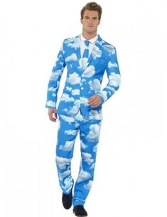 Smiffy's Men's Sky High Suit with Jacket Trousers and Tie Stag Fancy Dress, Funny Fancy Dress, Adult Halloween, Halloween Outfits, Halloween Costumes, Halloween Party, White Sky, Blue And White, Suit With Jacket