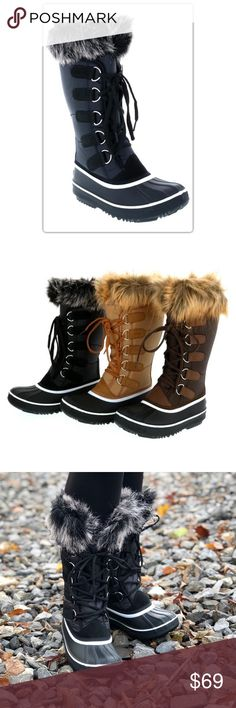 The Jenna Collection Black Faux Fur Winter Boots Stay warm this winter! These faux fur lined boots will keep you warm and looking great. The black boots have a black and white faux fur with black laces. The NEW Boutique Shoes Winter & Rain Boots