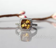 Citrine Engagement Ring 7.8mm Citrine Pave .45ct Diamond in 14k White Gold Wedding Ring Engagement Ring Promise Gemstone Ring   495USD