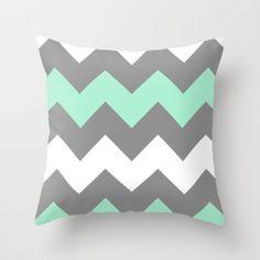 Mint White Grey Chevron Throw Pillow by CreativeAngel | Society6