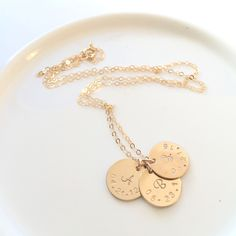 "The ""Brooklyn"" Necklace. Initials and Birthdates. Gold Filled custom necklace."