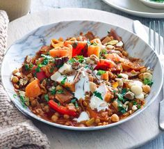 Moroccan Vegetable Stew- SO TASTY This warming one-pot stew is packed with nourishing ingredients like fibre-full chickpeas and iron-rich lentils Veggie Recipes, Vegetarian Recipes, Dinner Recipes, Cooking Recipes, Healthy Recipes, Healthy Dishes, Veggie Food, Fish Recipes, Vegan Vegetarian