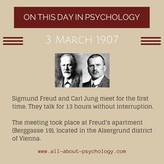 TODAY IN THE HISTORY OF PSYCHOLOGYFreud info –> all-about-psychology.com/sigmund-freud.html Jung info –>  all-about-psychology.com/carl_jung.html