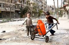 syria barrow Children push a cart with water containers along a bombed-out street in Aleppo, SyriaReuters People Around The World, Around The Worlds, Safe Drinking Water, World Water Day, Water Containers, Natural Disasters, Syria, Thinking Of You, Children