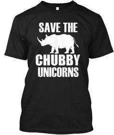 Save The Chubby Unicorns T Shirt Black T-Shirt Front