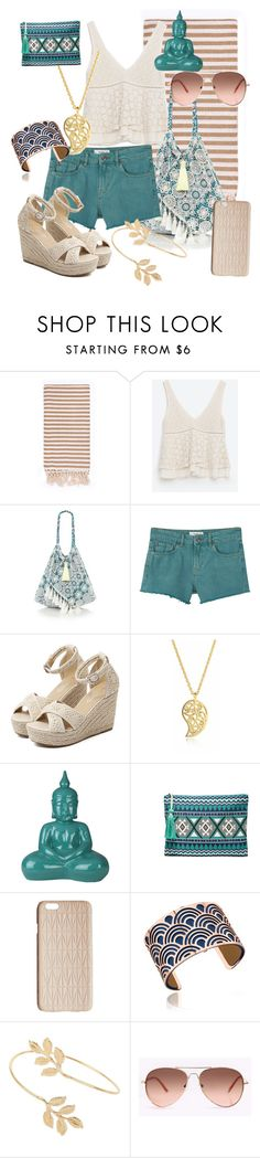 """""""Beach Day"""" by pearlumberger on Polyvore featuring Turkish-T, Zara, 6 Shore Road, MANGO, WithChic, Sonal Bhaskaran, Surya, Sole Society, Dagmar and Les Georgettes"""